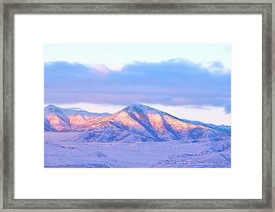 Sunrise On Snow Capped Mountains Framed Print by Tracie Kaska