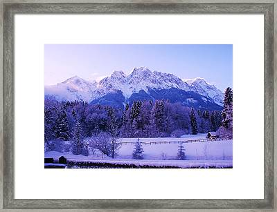 Sunrise On Snowy Mountain Framed Print