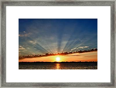 Framed Print featuring the photograph Sunrise On The Bay Front by Kathy Ponce
