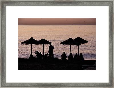 Sunrise On The Beach After A Night Out Framed Print