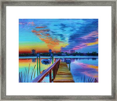 Sunrise On The Dock Framed Print