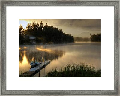 Sunrise On The Lake Framed Print