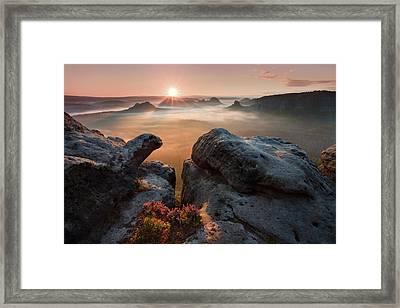 Sunrise On The Rocks Framed Print