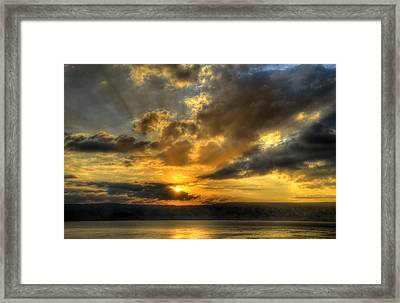 Sunrise On The Sea Of Galilee Framed Print by Ken Smith