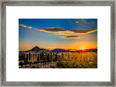 Framed Print featuring the photograph Sunrise On The Temple Of Olympian Zeus by Micah Goff