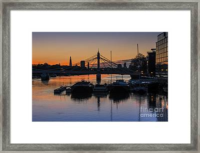 Sunrise On The Thames Framed Print by Donald Davis