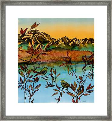 Sunrise On Willows Framed Print by Carolyn Doe