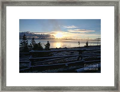 Sunrise On Yellowstone Lake Framed Print
