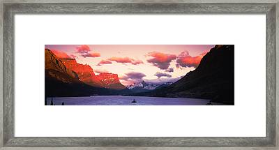 Sunrise Over A Lake, St. Mary Lake Framed Print by Panoramic Images