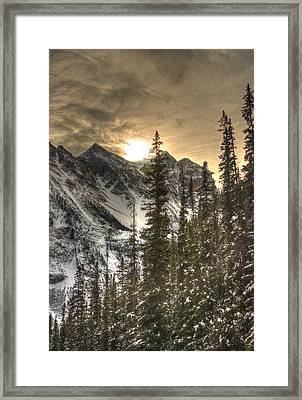 Sunrise Over A Mountain Ridge Framed Print