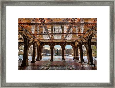 Sunrise Over Bethesda Terrace Lower Passage Framed Print by Lee Dos Santos