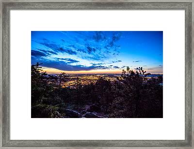 Sunrise Over Boulder Framed Print by Tom Cordova