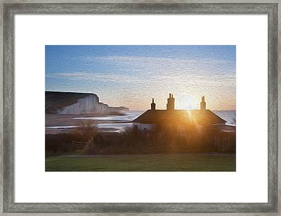 Sunrise Over Coastguard Cottages At Seaford Head With Seven Sisters Digital Painting Framed Print by Matthew Gibson