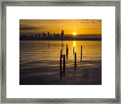 Sunrise Over Elliott Bay Framed Print
