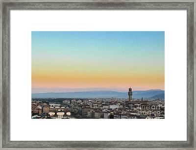 Sunrise Over Florence Framed Print by David Warrington