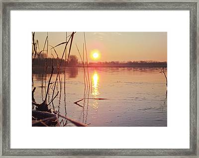 Sunrise Over Frozen Water Framed Print