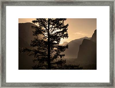 Sunrise Over Half Dome At Tunnel View Framed Print by Gina Bringman