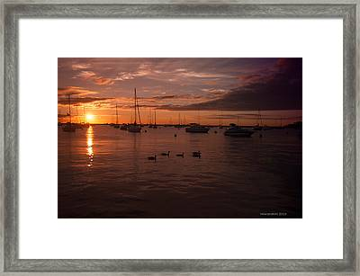 Sunrise Over Lake Michigan Framed Print by Miguel Winterpacht