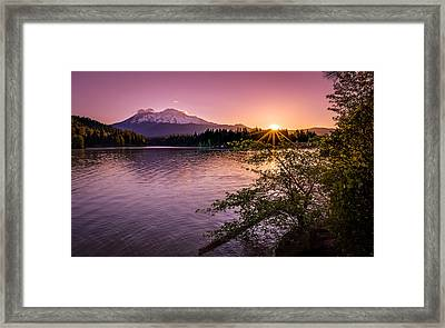 Sunrise Over Lake Siskiyou And Mt Shasta Framed Print