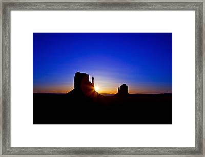 Sunrise Over Monument Valley Framed Print by Susan Schmitz