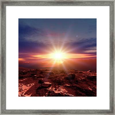 Sunrise Over Mountains Framed Print by Detlev Van Ravenswaay