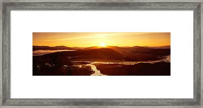 Sunrise Over Mountains, Snake River Framed Print by Panoramic Images
