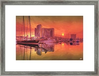 Sunrise Over San Diego Framed Print by Steve Huang