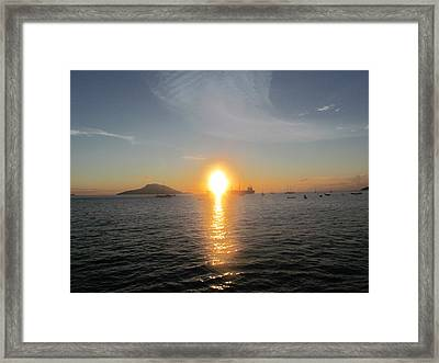 Sunrise Over Ship Framed Print