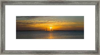 Sunrise Over Sunshine Skyway Bridge Framed Print by Panoramic Images