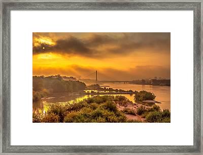 Sunrise Over Swiatokrzyski Bridge In Warsaw Framed Print
