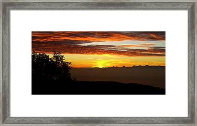 Framed Print featuring the photograph Sunrise Over The Alps by Charles Lupica