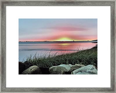 Sunrise Over The Bay Framed Print by Janice Drew