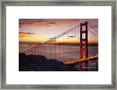 Sunrise Over The Golden Gate Bridge Framed Print