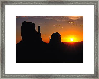 Sunrise Over The Mittens In Monument Valley Framed Print