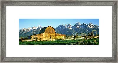 Sunrise Over The Moulton Barn Framed Print
