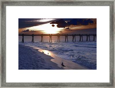 Sunrise Over The Pier Framed Print
