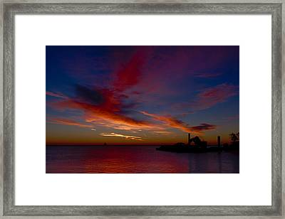 Framed Print featuring the photograph Sunrise Over The Port Of Milwaukee by Chuck De La Rosa
