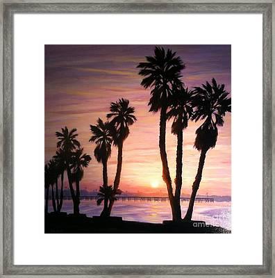 Sunrise Over The Ventura Pier Framed Print by Tina Obrien