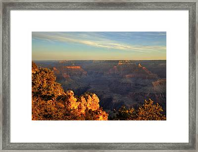 Framed Print featuring the photograph Sunrise Over Yaki Point At The Grand Canyon by Alan Vance Ley