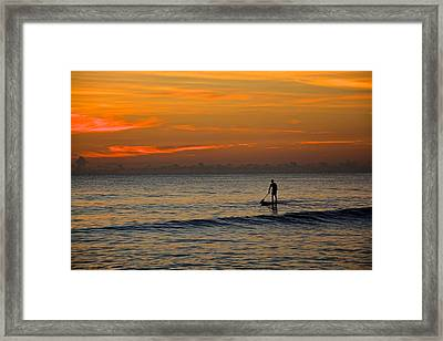 Sunrise Paddling Framed Print by Cloe Couturier