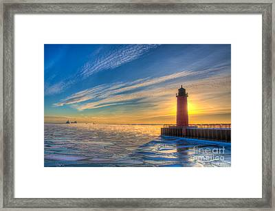 Sunrise Pierhead Framed Print