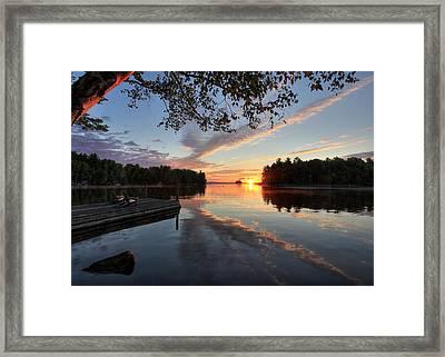 Sunrise Seat - Millinocket Lake Framed Print by Lori Deiter
