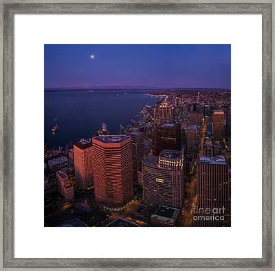 Sunrise Seattle Moonglow Framed Print