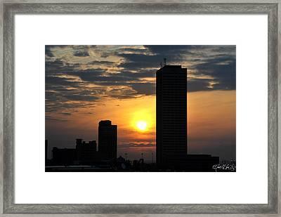 Sunrise Silhouette Buffalo Ny V2 Framed Print