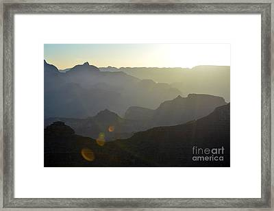 Sunrise Silhouettes With Lens Flare In Grand Canyon National Park Framed Print by Shawn O'Brien