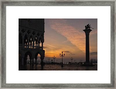 Sunrise St Mark's Square Framed Print by Marion Galt