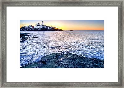 Sunrise Starburst Over Nubble Lighthouse  Framed Print by Thomas Schoeller