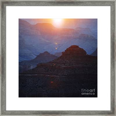 Sunrise Sunlight Over Silhouetted Spires In Grand Canyon National Park Square Framed Print