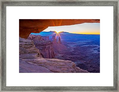 Sunrise Through Mesa Arch Framed Print