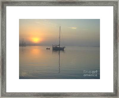 Sunrise Through The Fog Framed Print by Bob Sample
